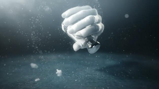 小盐瓶白色粒子飞跃汇聚飘散粒子
