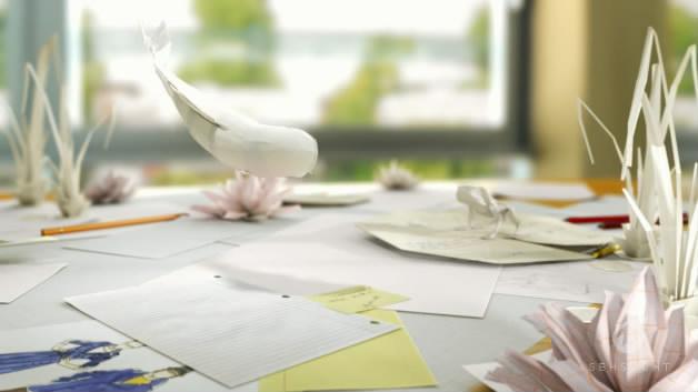 纸张折叠纸青蛙人物实拍合成