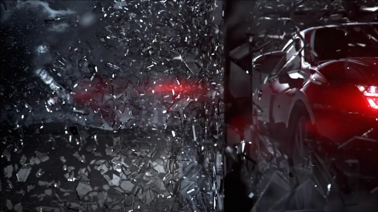 雷克萨斯红色汽车抽象艺术美女玻璃破碎舞蹈节奏汽车光影