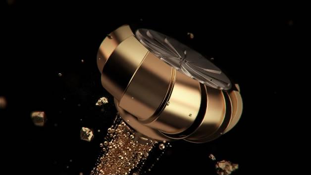 样片参考|化妆品粒子汇聚金色化妆品瓶子金色粒子