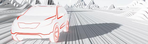 白色干净纸张起伏线条沟壑线条道路汽车无人驾驶广告