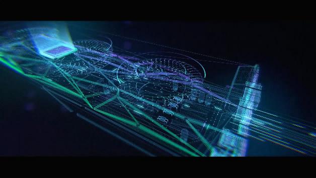 GPU显卡产品动画虚拟线框线条科技光线