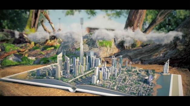 迪拜DAST片头开场全三维动画创意城市书籍折叠纸张