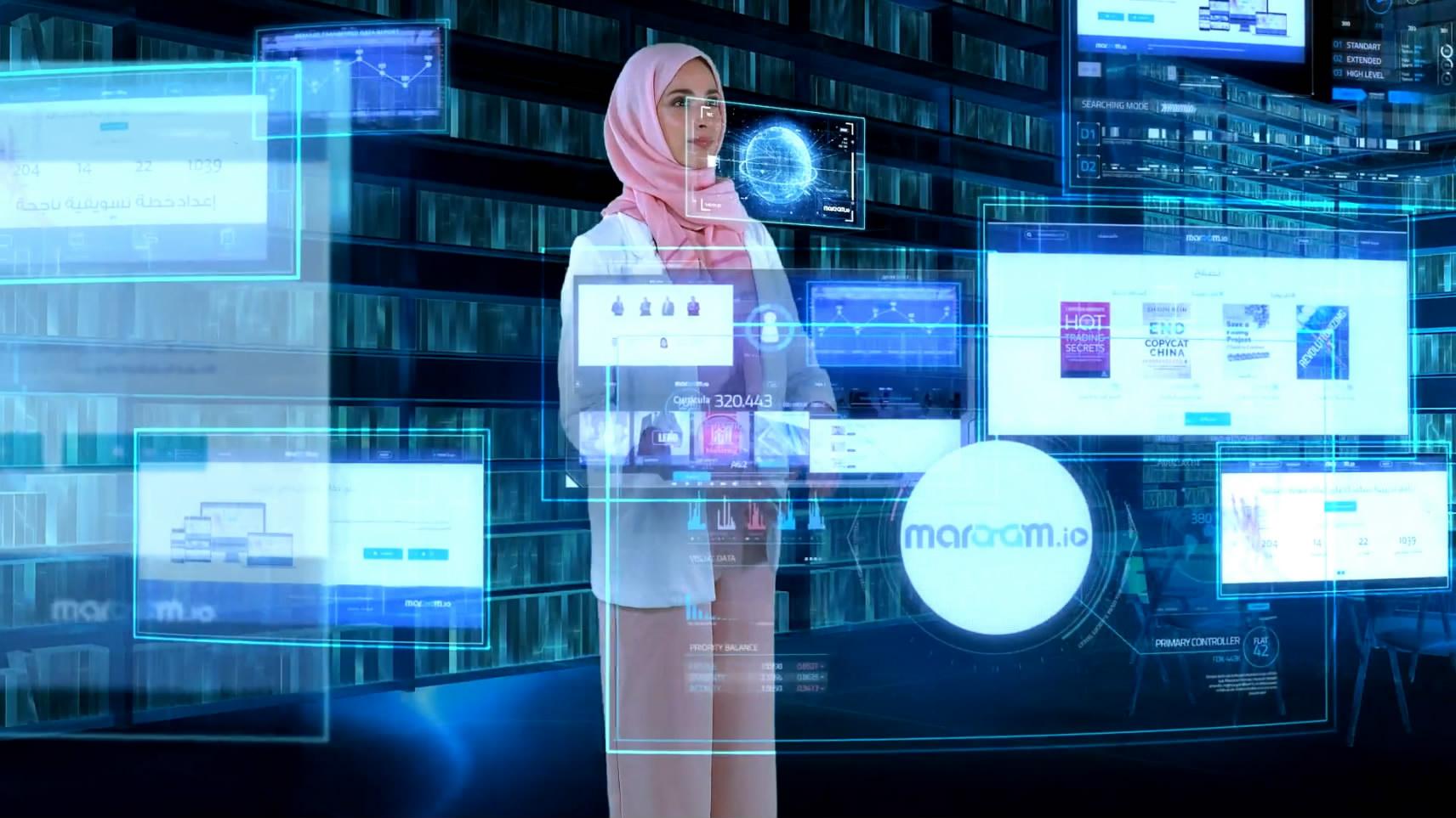科技未来女人物实拍合成科技城市穿梭光线虚拟屏幕
