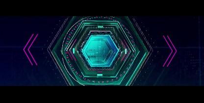 科技大屏科技开场宽屏六边形科技穿梭网格