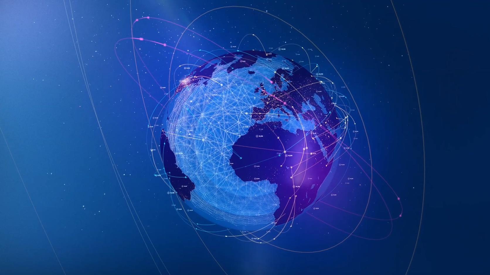 科技物流货物跟踪信息线条辐射地球线条