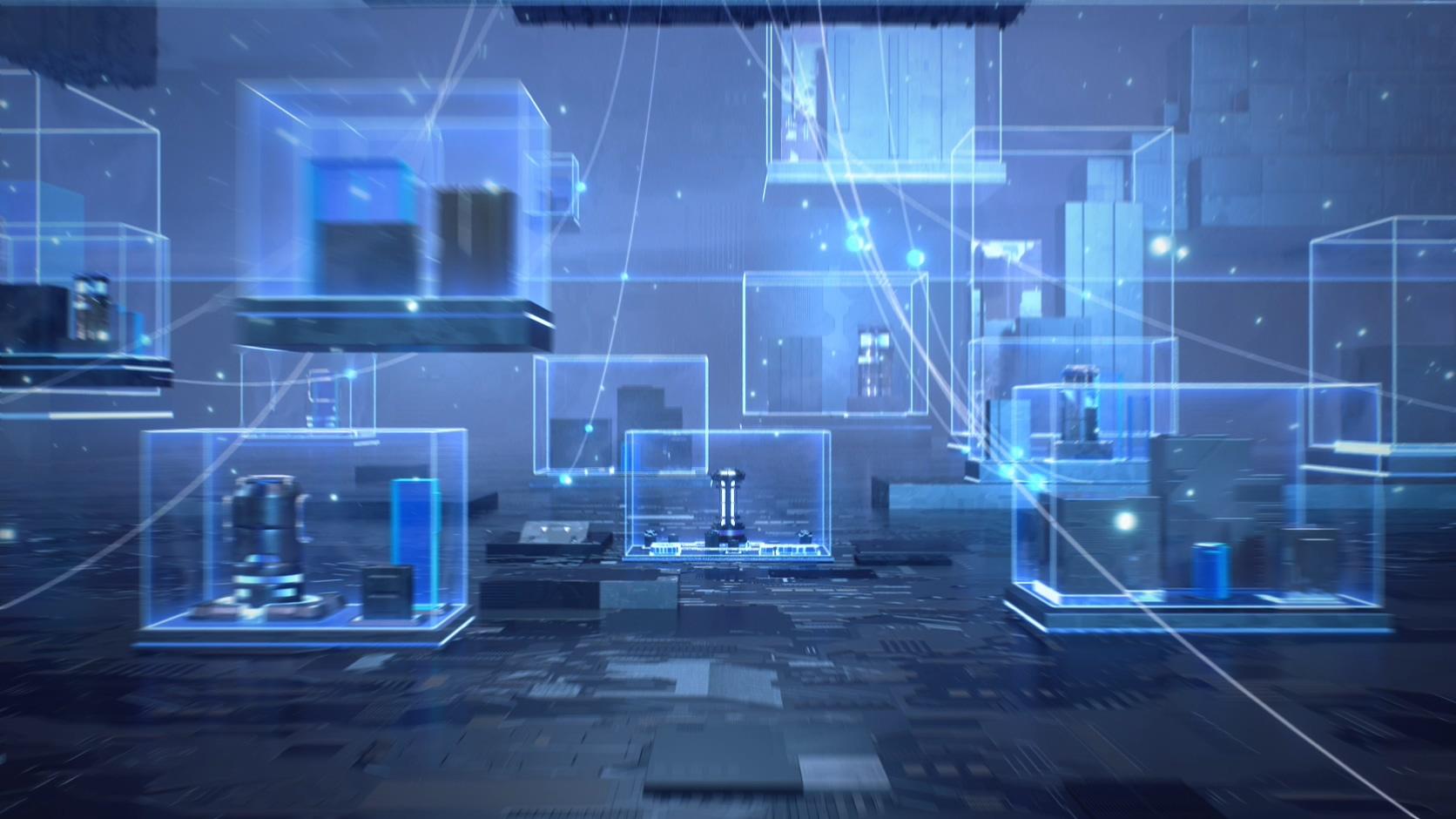 网络安全防火墙科技芯片质感三维金属暗黑线条科幻场景