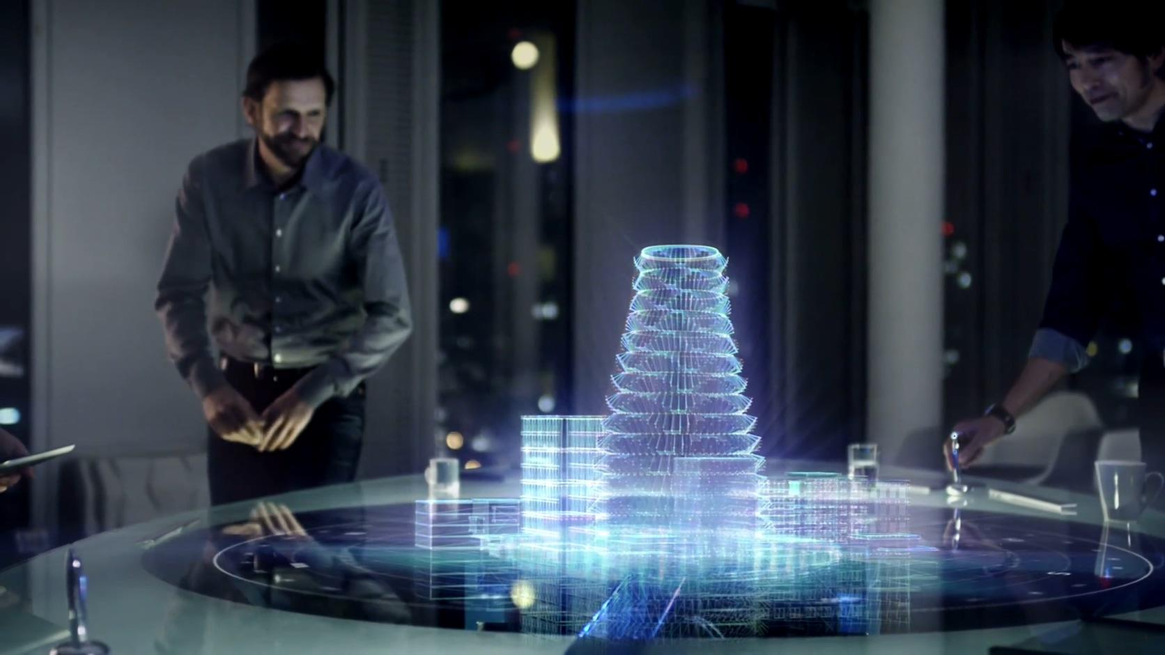 全息实拍合成科技城市夜景线条城市科幻