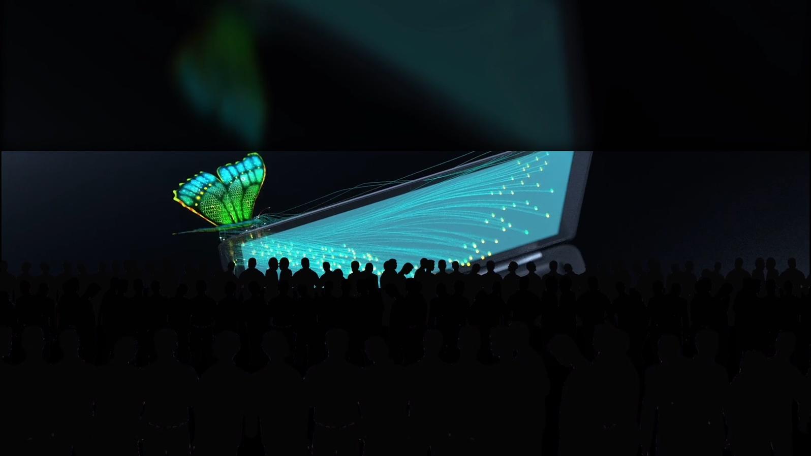科技大屏互动蝴蝶粒子汽车线条汇聚