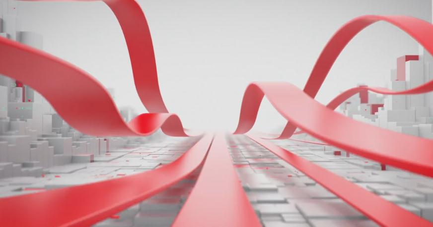 白色BOX矩阵线条穿梭财经新闻红色条子片头