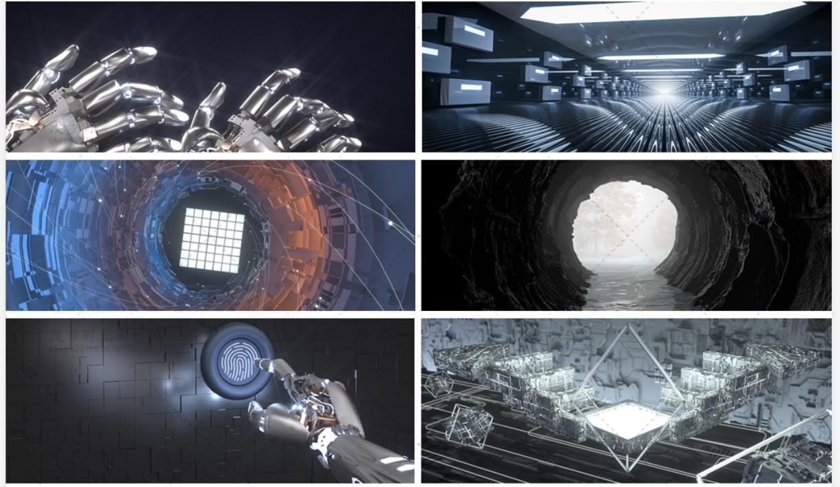 13款智能未来科技感场景科幻C4D模型工程源文件