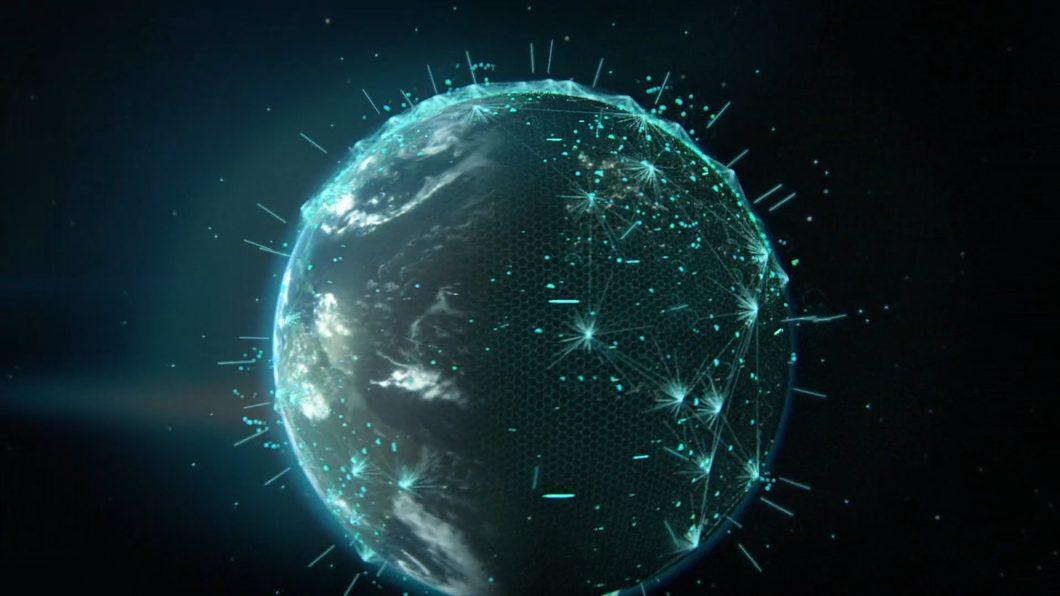 地球加油站科技线条虚拟城市夜景科技网格图示标注包装三维