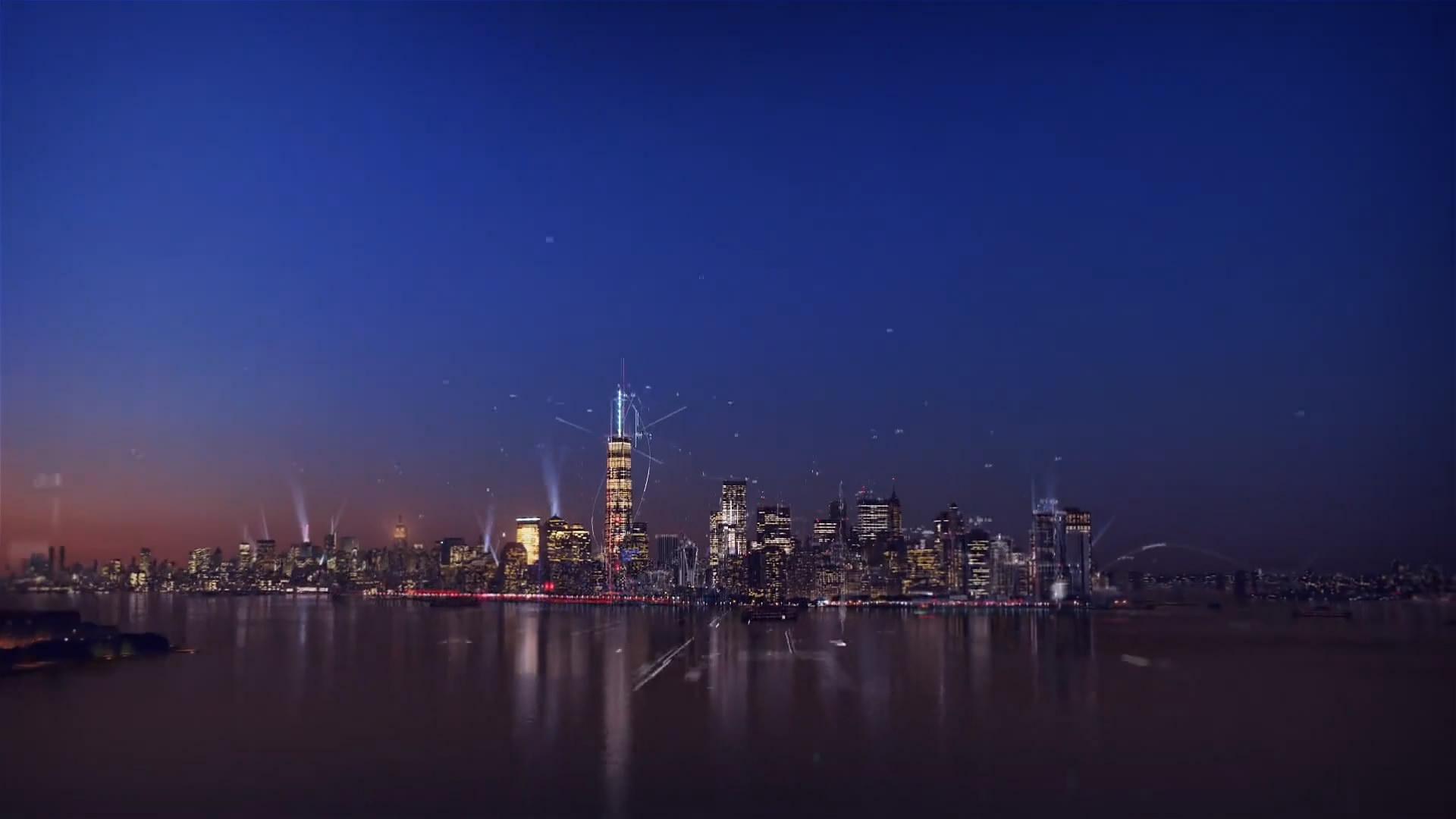 NBC地球夜景穿梭城市夜景过渡标板构图夜景