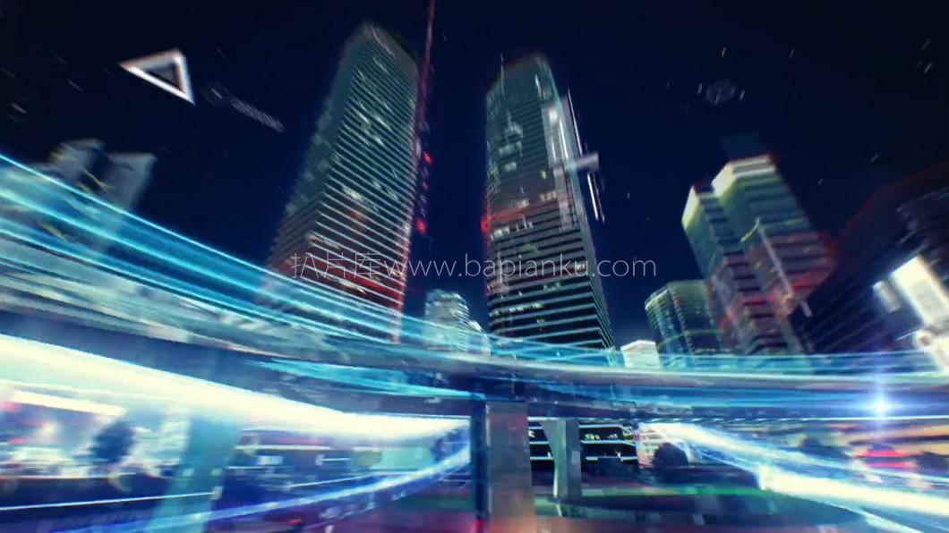 上海新闻频道夜景城市光线科技牛逼光线穿梭镜头过渡