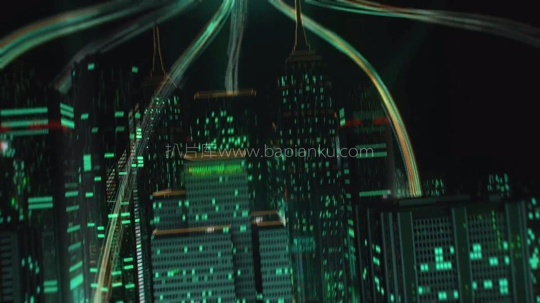 科技光线镜头连接科技绿色虚拟城市智慧地球开场视频