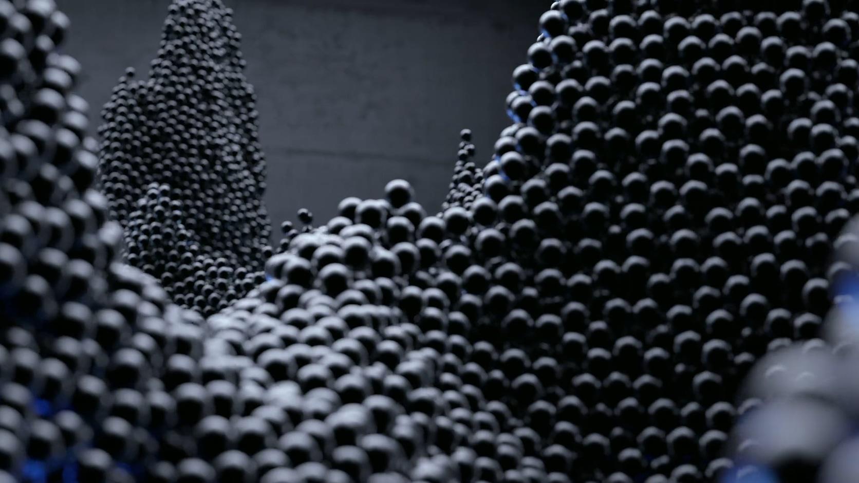 粒子球汇聚阵列黑蓝粒子球针状创意分形