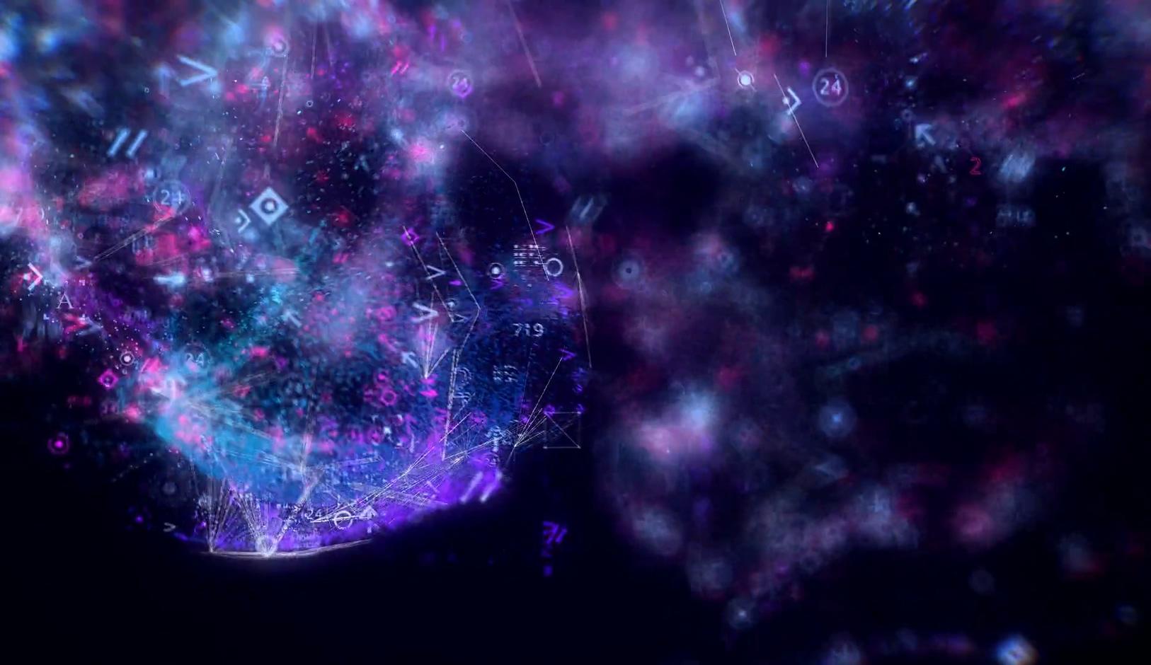 梦幻粒子紫色羽毛唯美粒子流体光线性感时尚