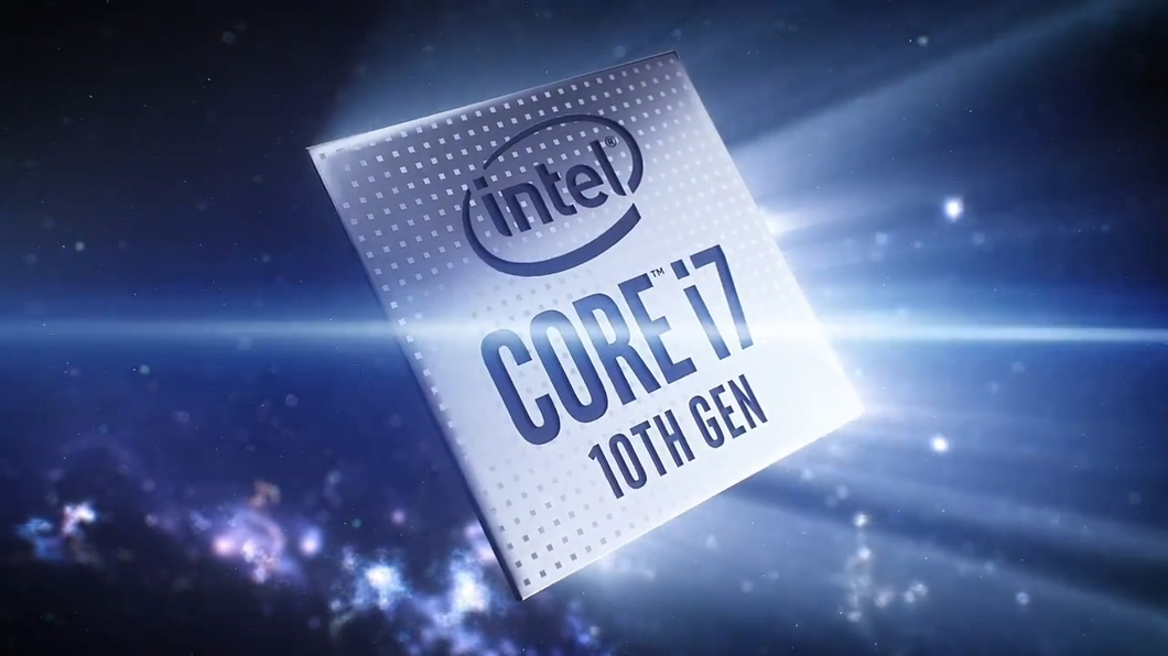 酷睿I7十代芯片电路网格线条科幻科技场景人物实拍合成