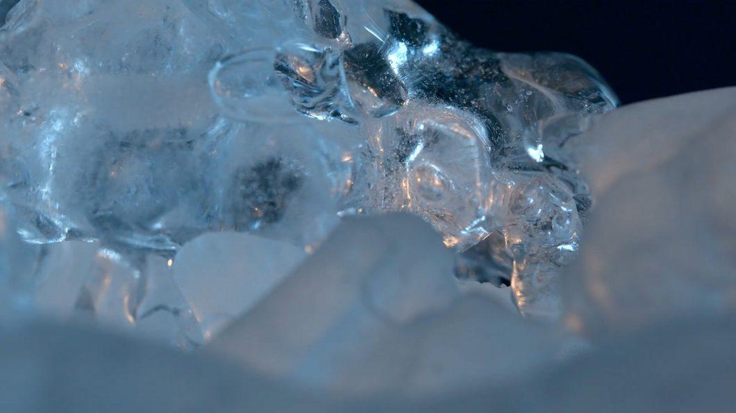 晶体结冰冰块特写