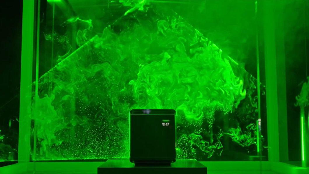 三星净化器分解动画微观粒子暗黑场景氛围空间灯管