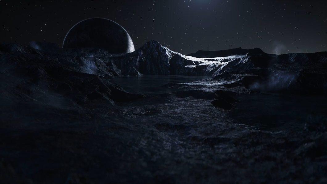 oppo手机暗黑岩石水波星球太空质感金属蓝动感
