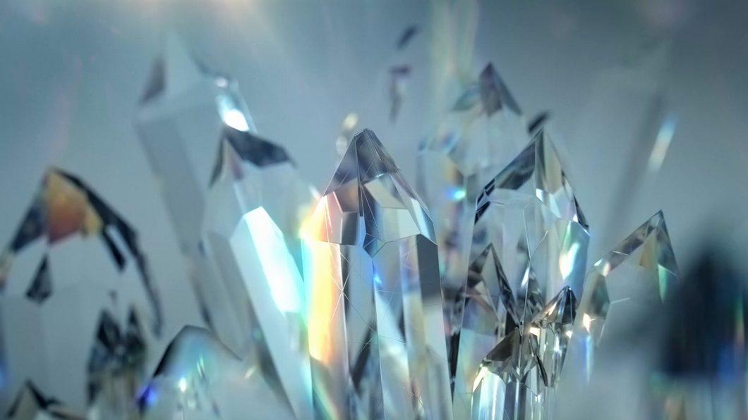 日产LOGO品牌升级演绎片头动画结冰生长水晶流体羽毛绿草粒子爆炸